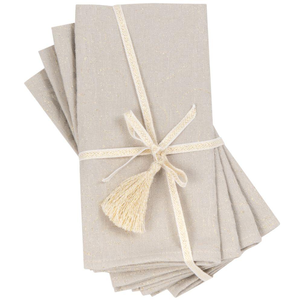 Serviettes tissées jacquard beiges et dorées (x4)