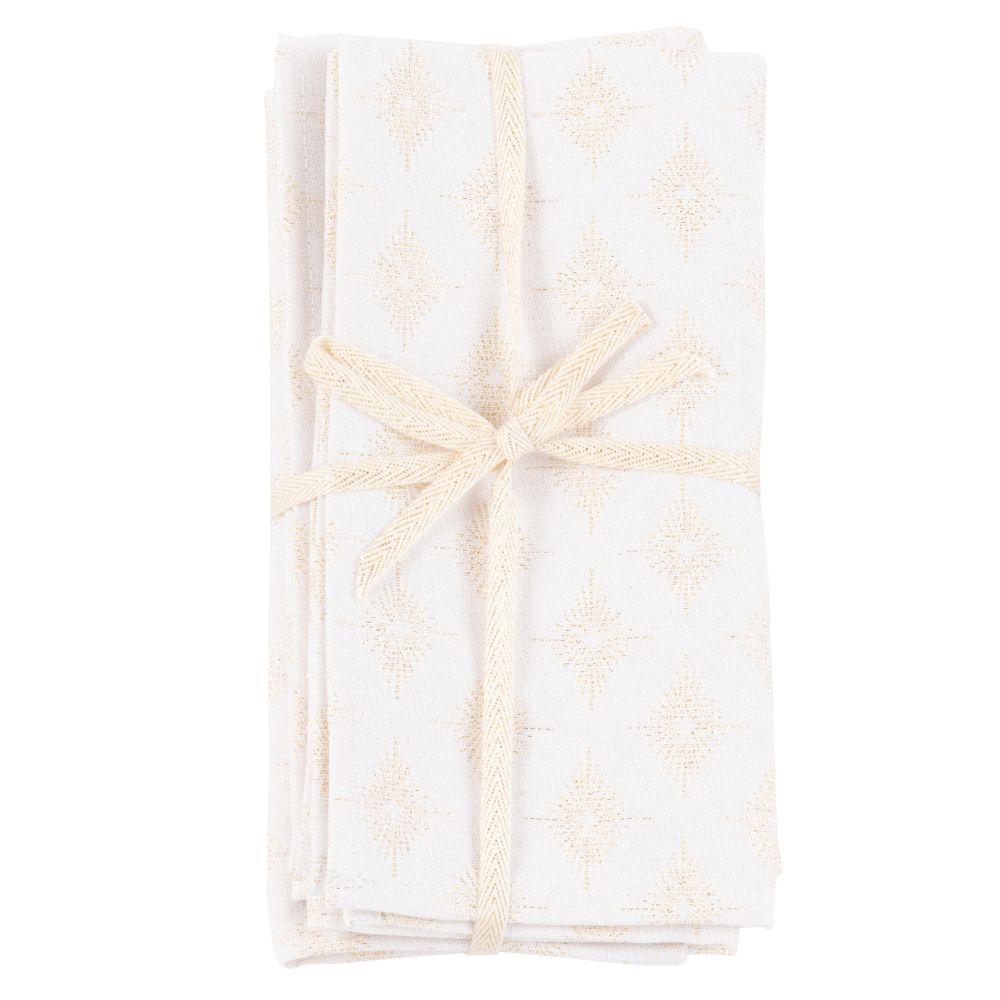 Serviettes tissées jacquard blanches à motifs dorés (x4)