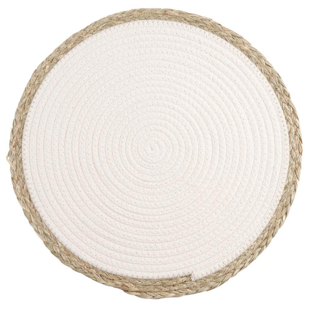 Set de table blanc et bordures en fibre végétale