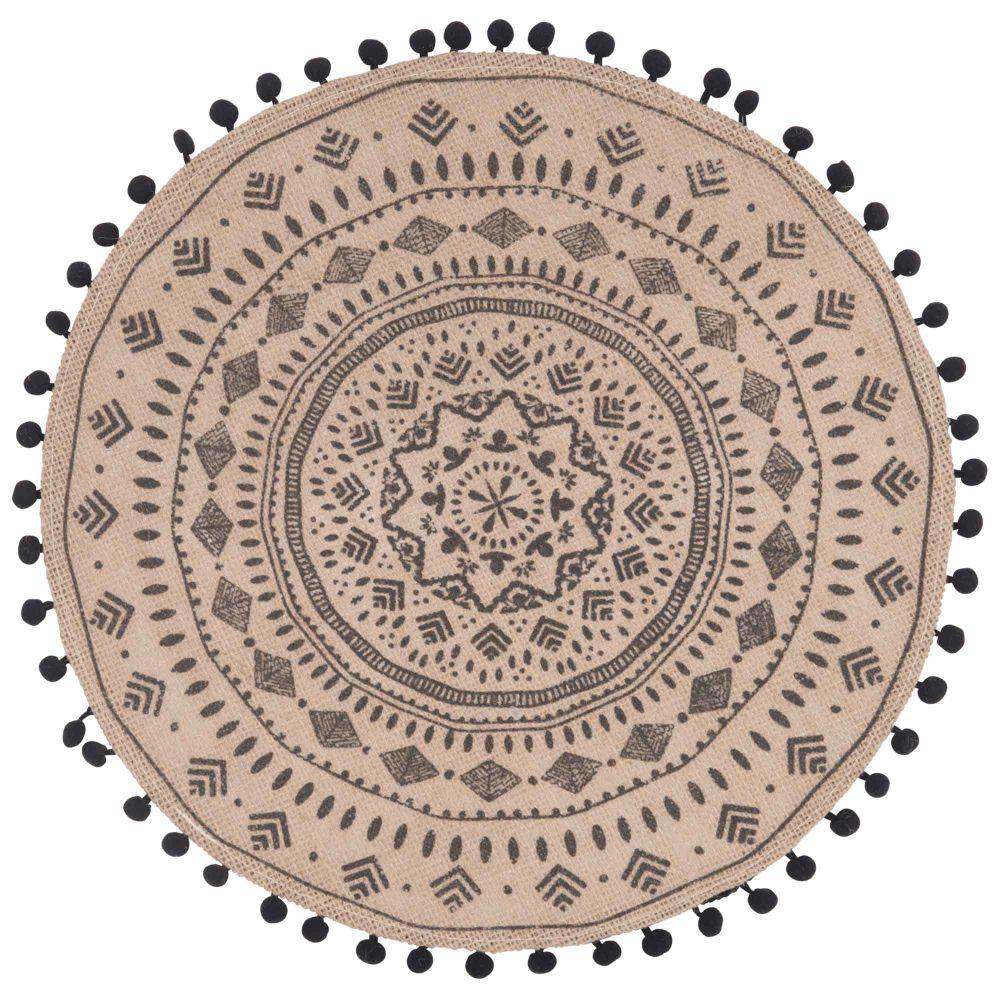 Set de table rond en jute imprimé mandala