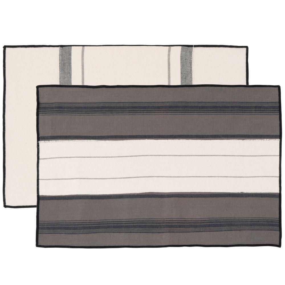 Sets de table en coton bio beige et gris anthracite (x2)