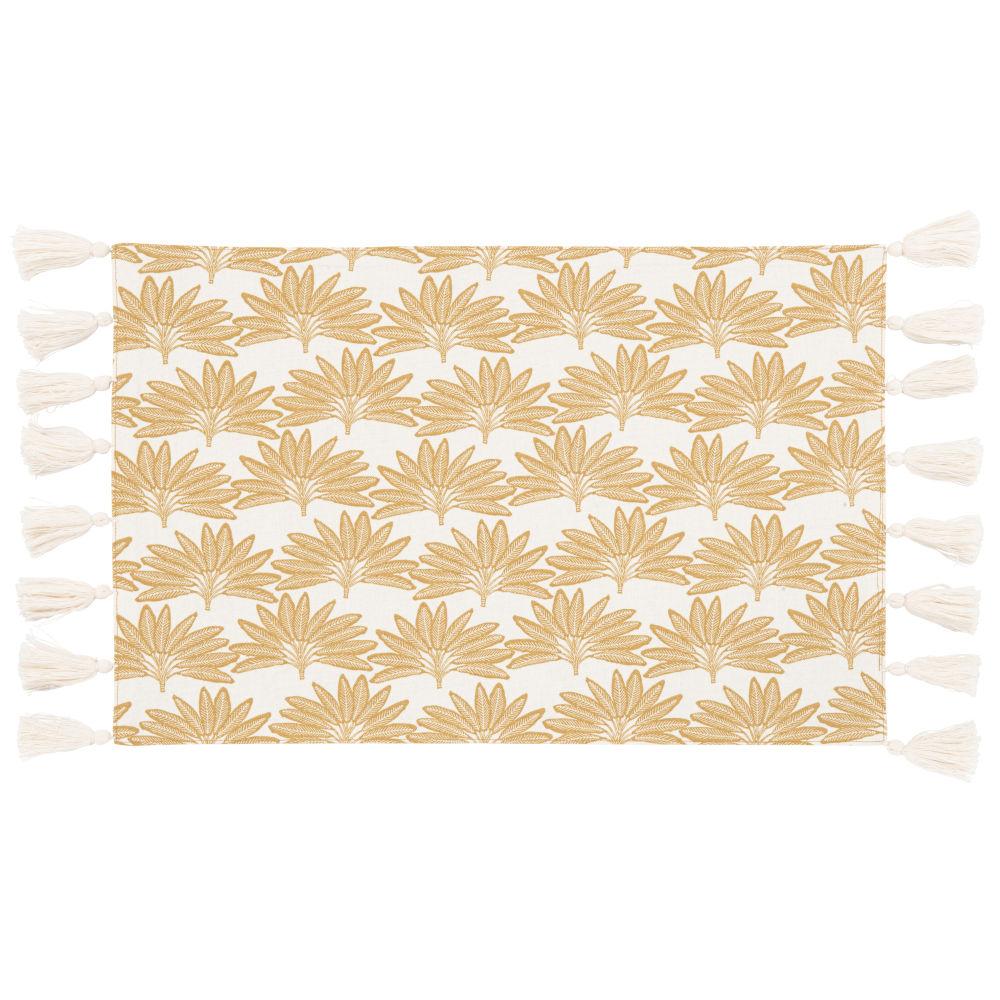 Sets de table en coton bio blanc imprimé doré (x2)