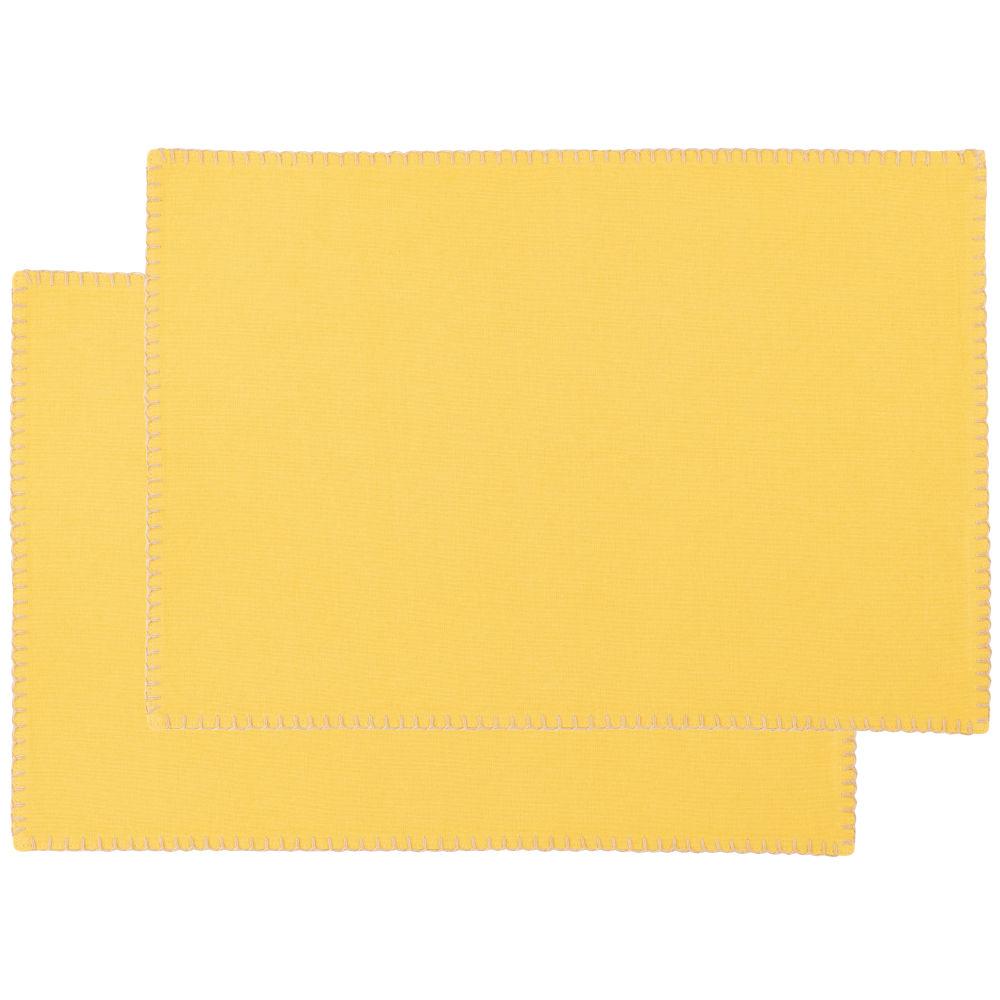 Sets de table en coton bio jaune (x2)