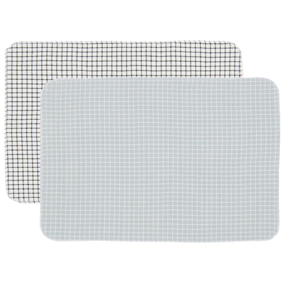 Sets de table en coton bio motifs à carreaux (x2)
