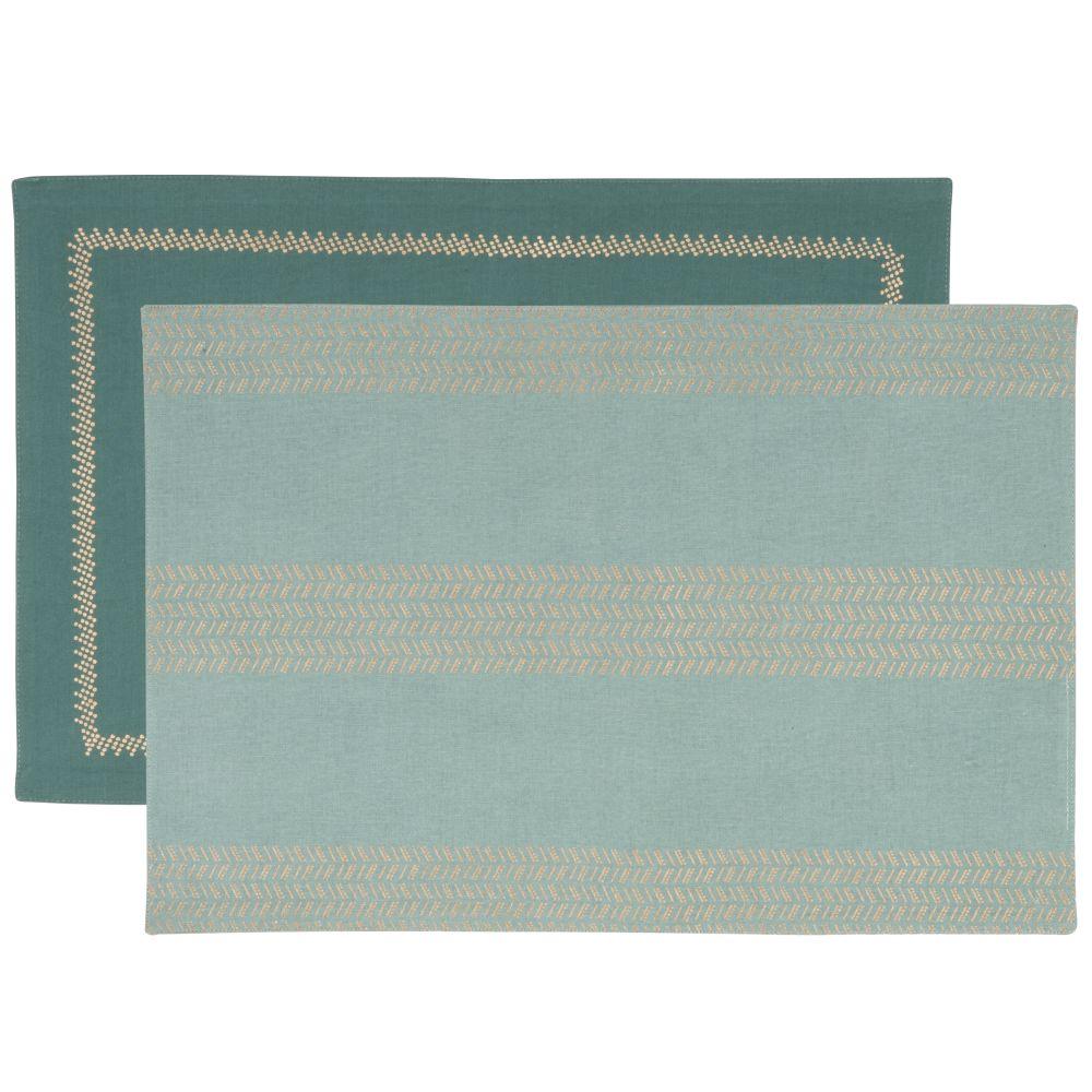 Sets de table en coton bleu vert et bleu canard et imprimé doré (x2)