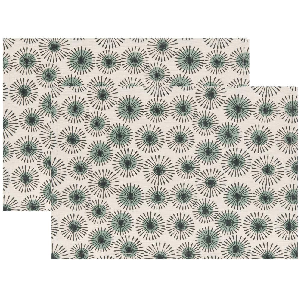 Sets de table en coton imprimé bleu vert et blanc (x2)