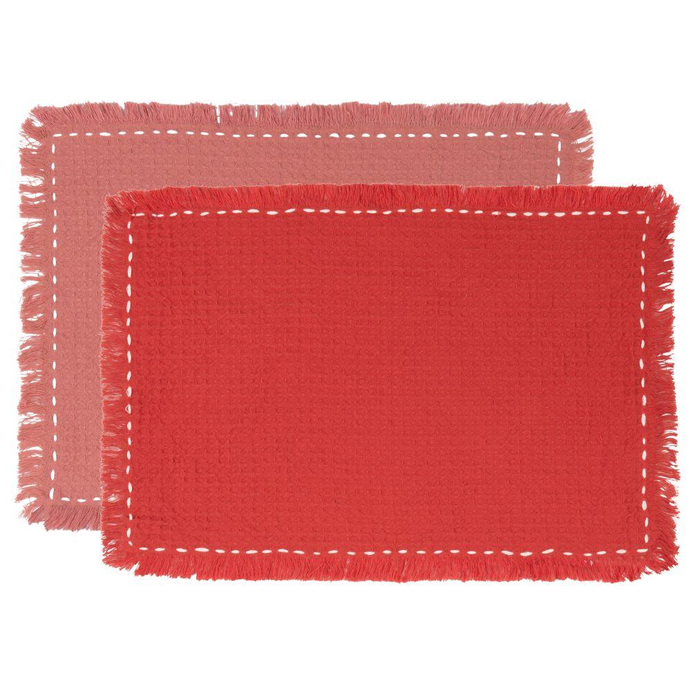 Sets de table en coton terracotta et rose (x2)