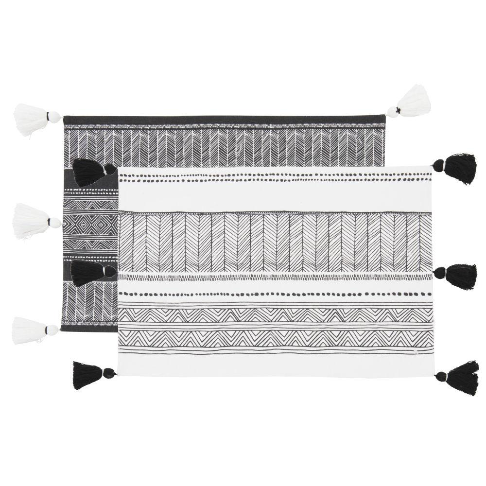 Sets de tables imprimé graphique blanc et noir (x2)