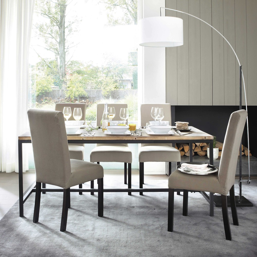 Photo of Solid fir and metal industrial 8-seater dining table w178
