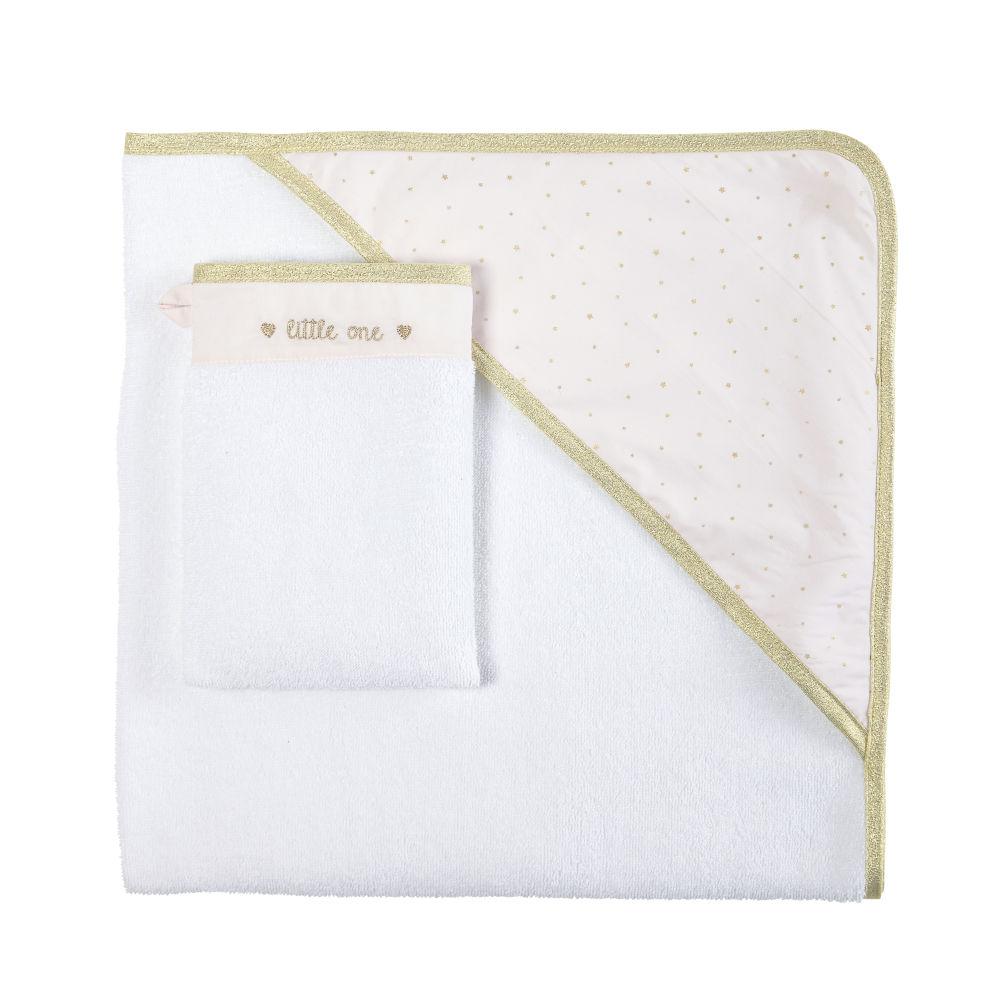Sortie de bain bébé en coton blanc