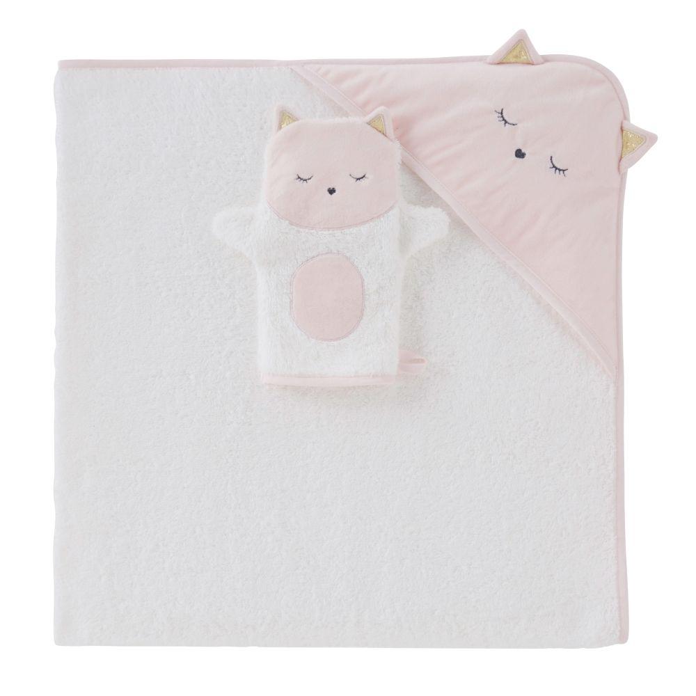 Sortie de bain bébé en coton blanc avec tête de chat 100x100