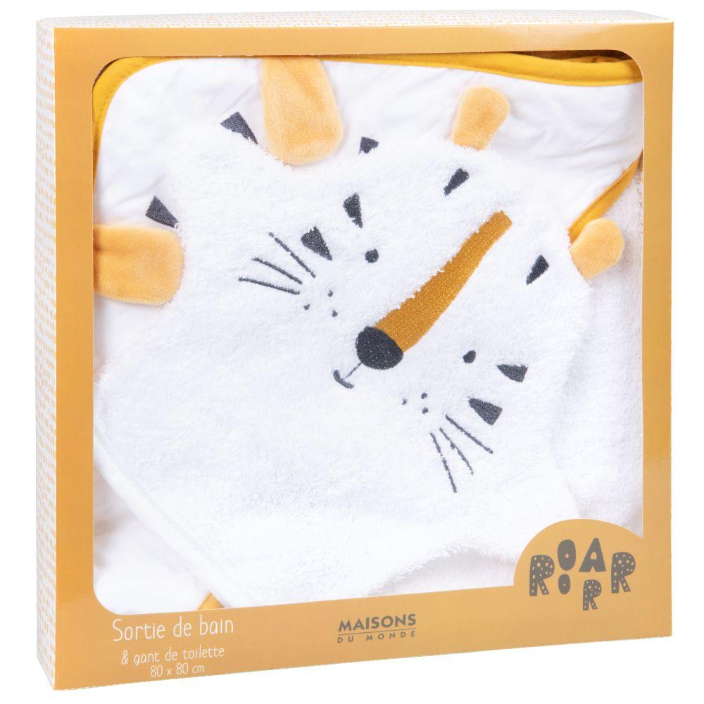 Sortie de bain bébé en coton blanc avec tête de tigre jaune moutarde et noire