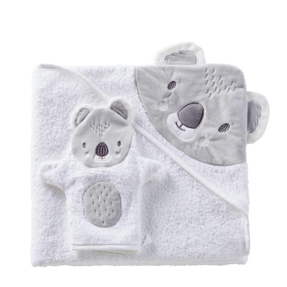 Sortie de bain bébé en coton blanc et gris 100x100