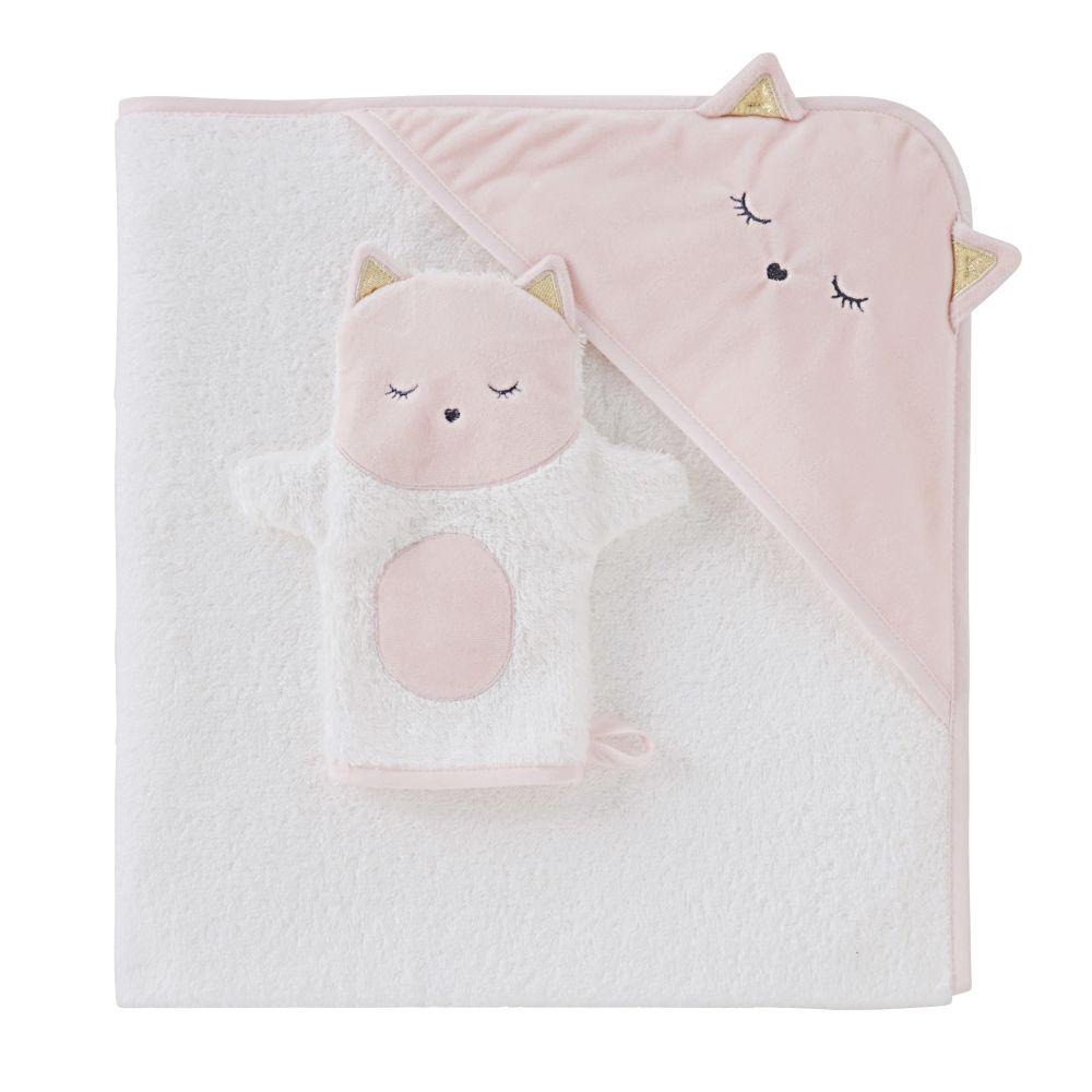 Sortie de bain bébé en coton blanche avec tête de chat 80x80