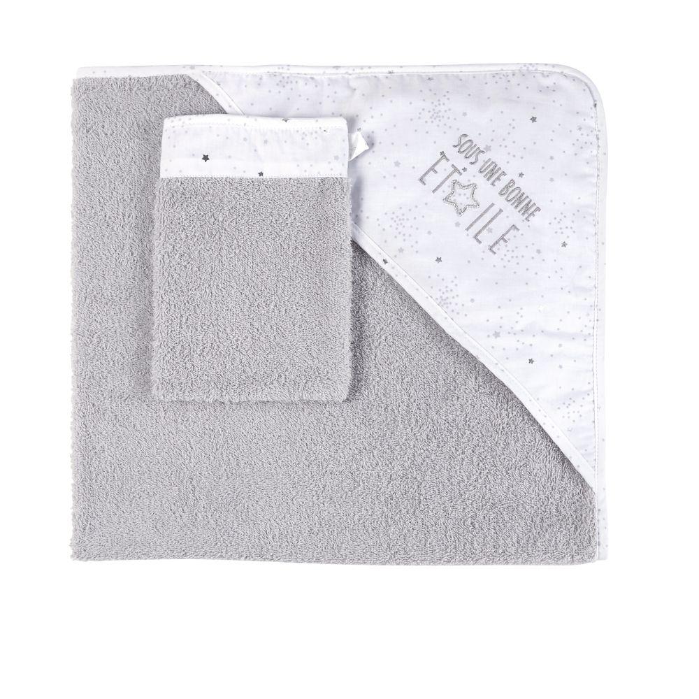 Sortie de bain bébé en coton gris et blanc