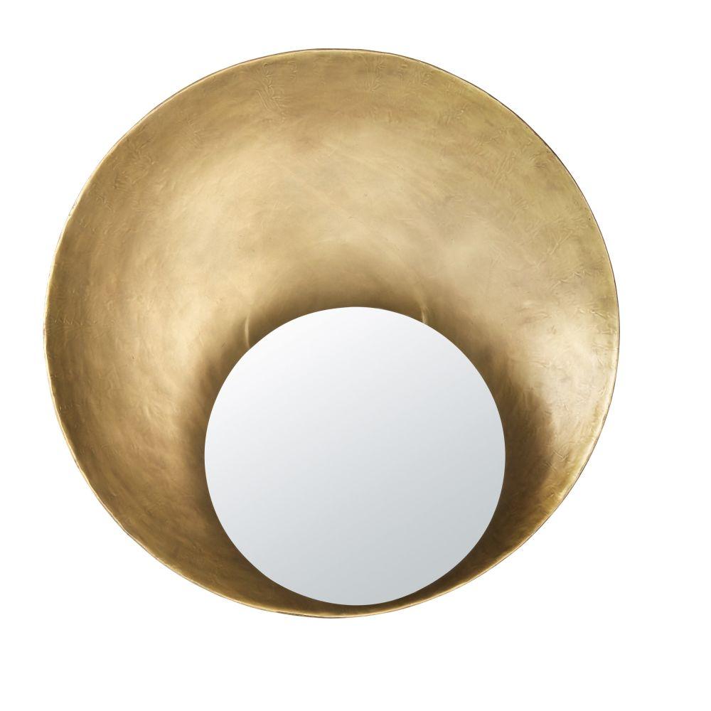 Specchio rotondo in metallo concavo dorato, D 90 cm