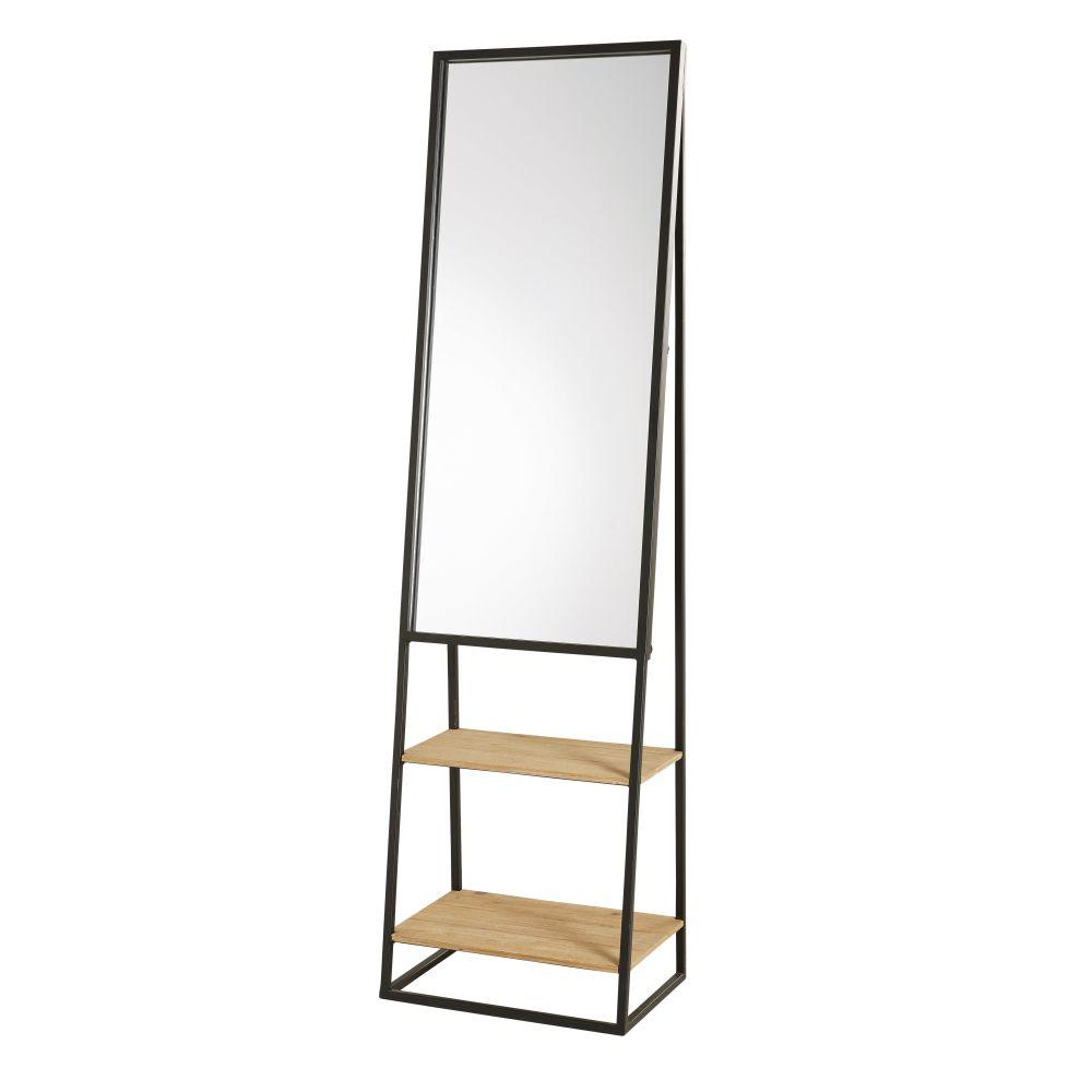 Spiegel Met Rekjes Van Zwart Metaal En Dennenhout 45x161