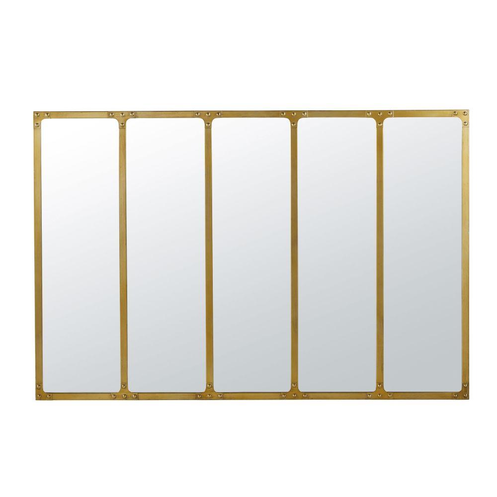 Spiegel Van Verguld Metaal Met Industriële Stijl 120 X 80 Cm