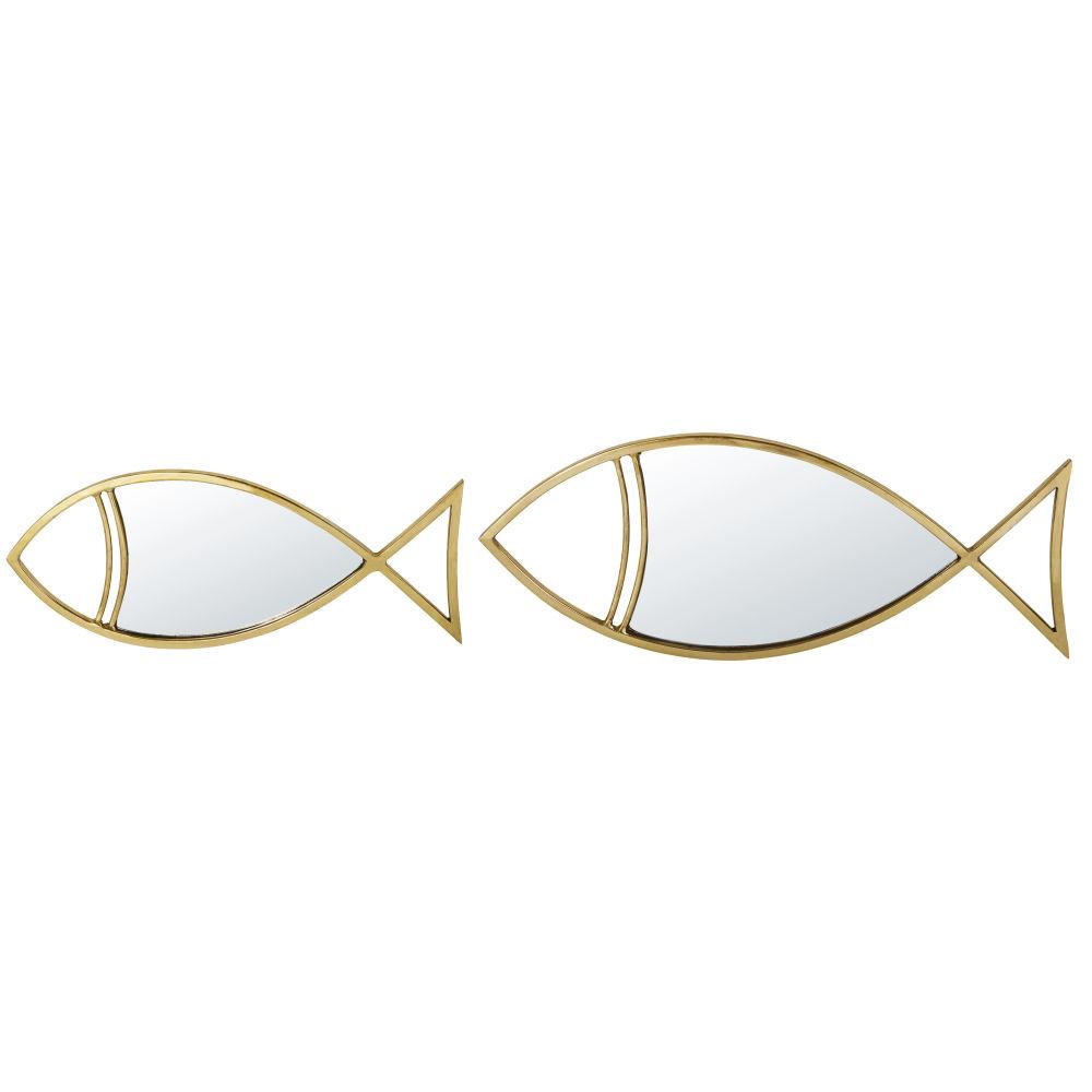 Spiegels Uit Verguld Metaal In Vissenvorm (x2) 65 X 25 Cm