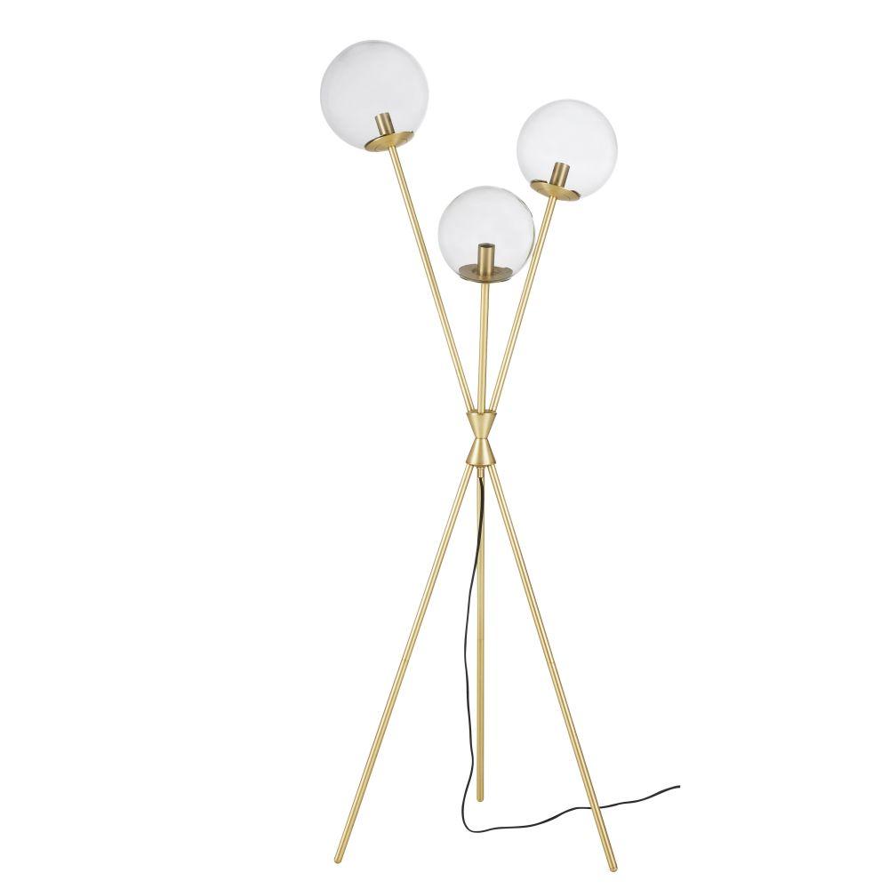Staande Lamp Uit Rookglas En Verguld Metaal Met 3 Lampenkappen H153