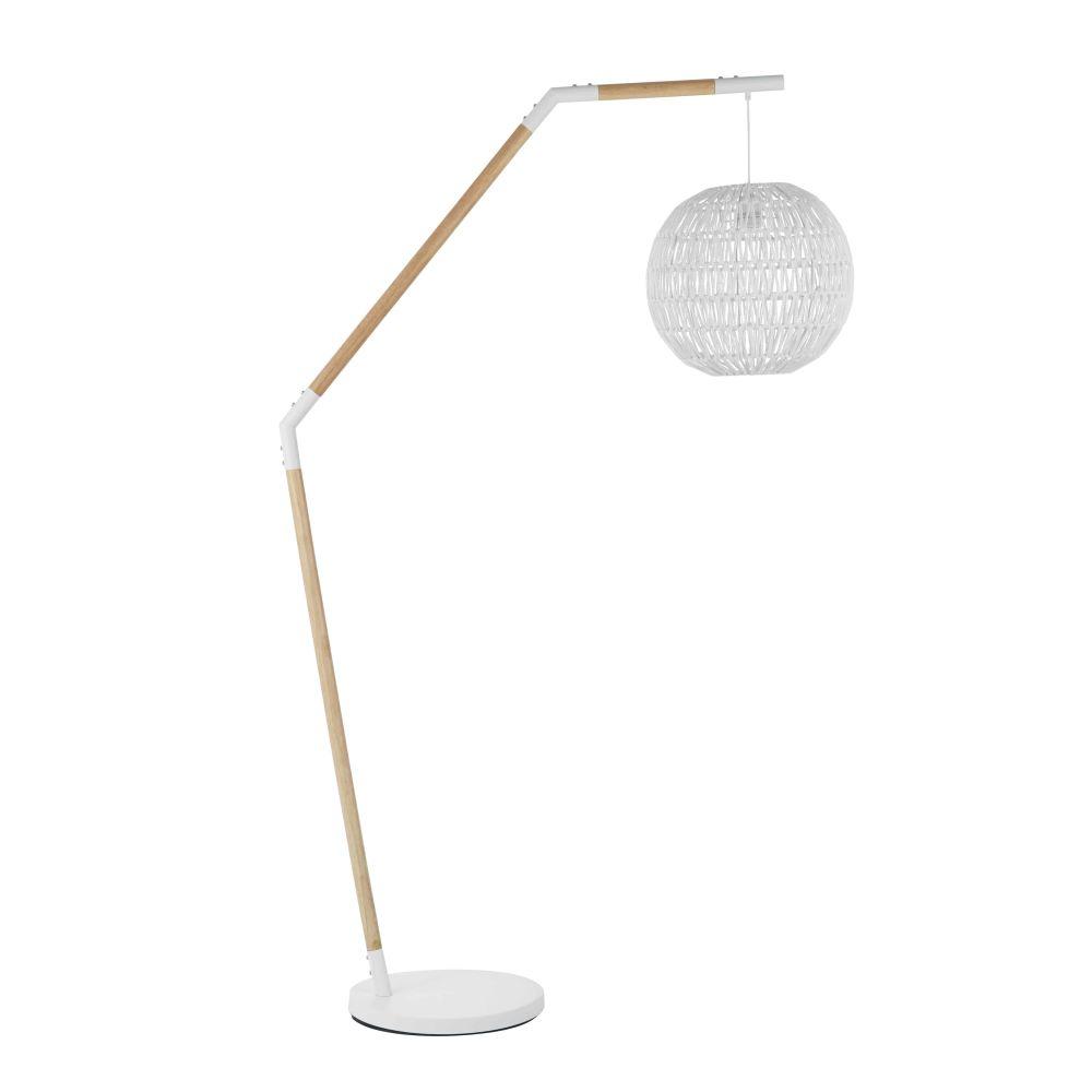 Staande Lamp Uit Witte Gevlochten Hennep En Heveahout H180