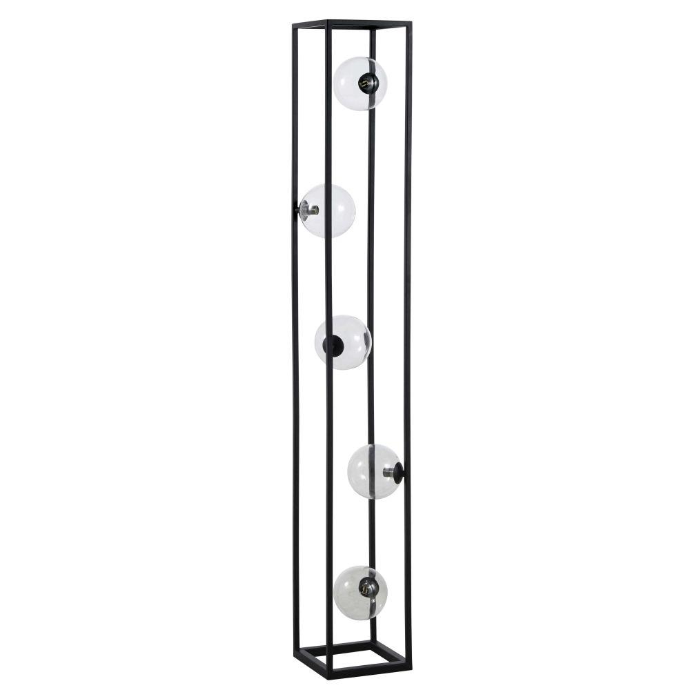 Staande Lamp Van Glas En Zwart Metaal Met 5 Bollen H140