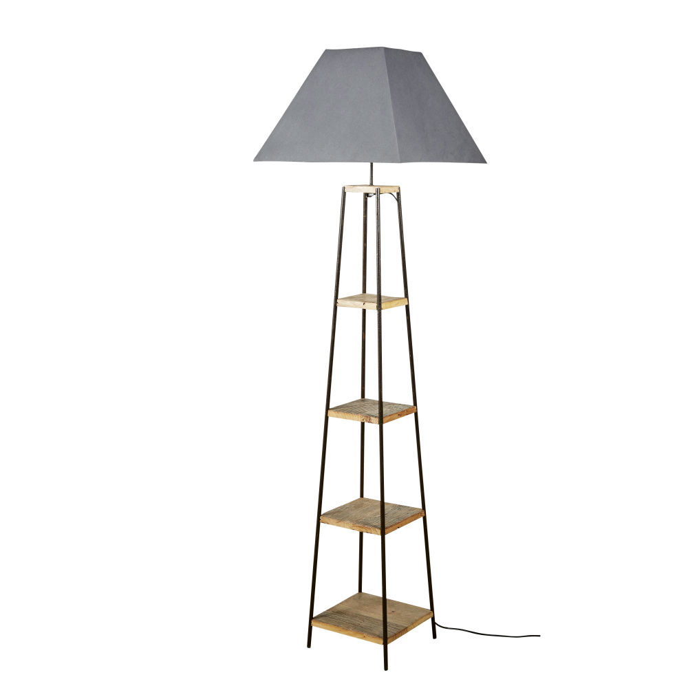 Staande Lamp Van Jujube Met Plankjes En Grijze Lampenkap H172