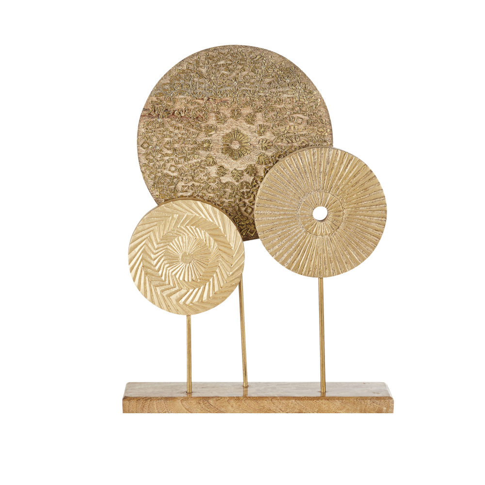 Statue 3 disques mandala doré mat H48
