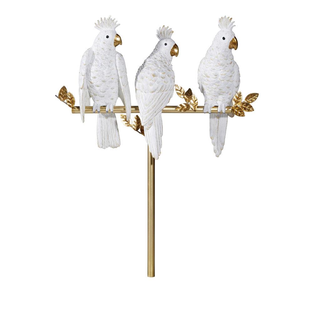 Statue 3 perroquets sur branche blanche et doré mat H50
