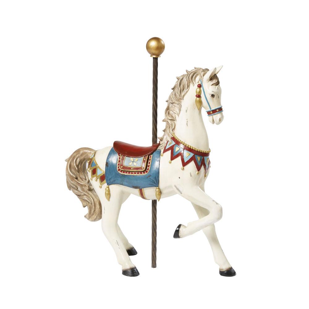 Statue cheval écrue effet vieilli H53