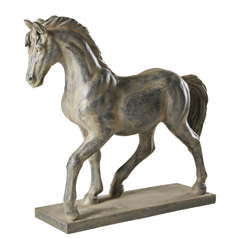Statue cheval noire effet vieilli H40