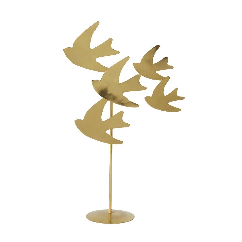 Statue d'hirondelles sur socle en métal doré brillant H42