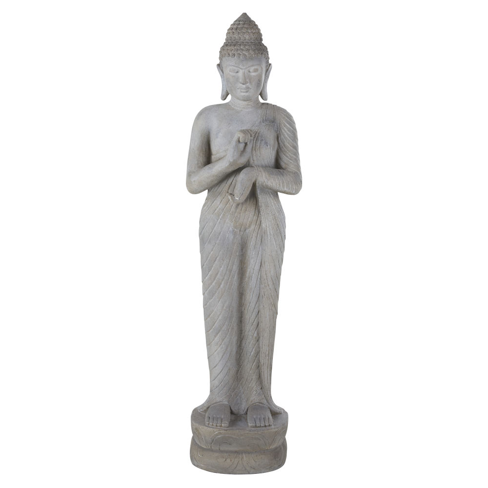 Statue de jardin bouddha grise blanchie H158