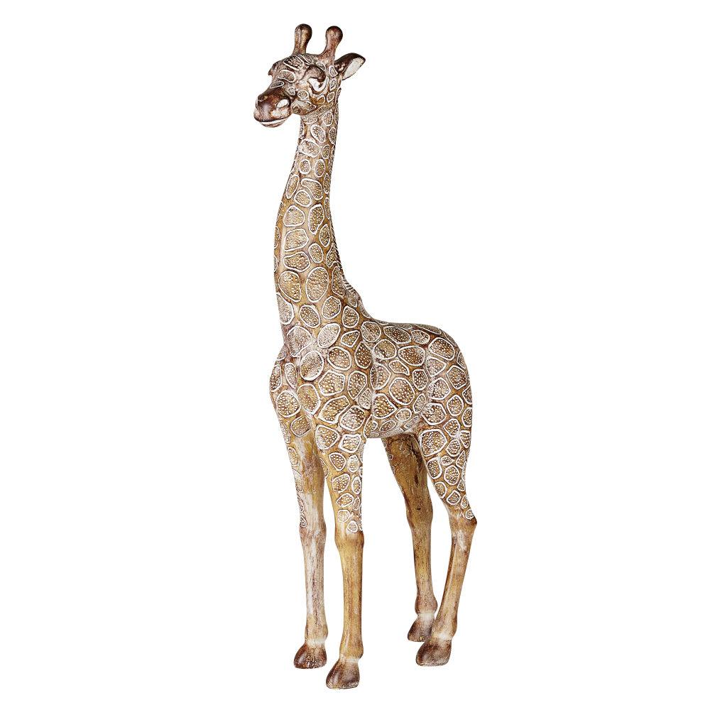 Statue de jardin girafe beige et marron H70