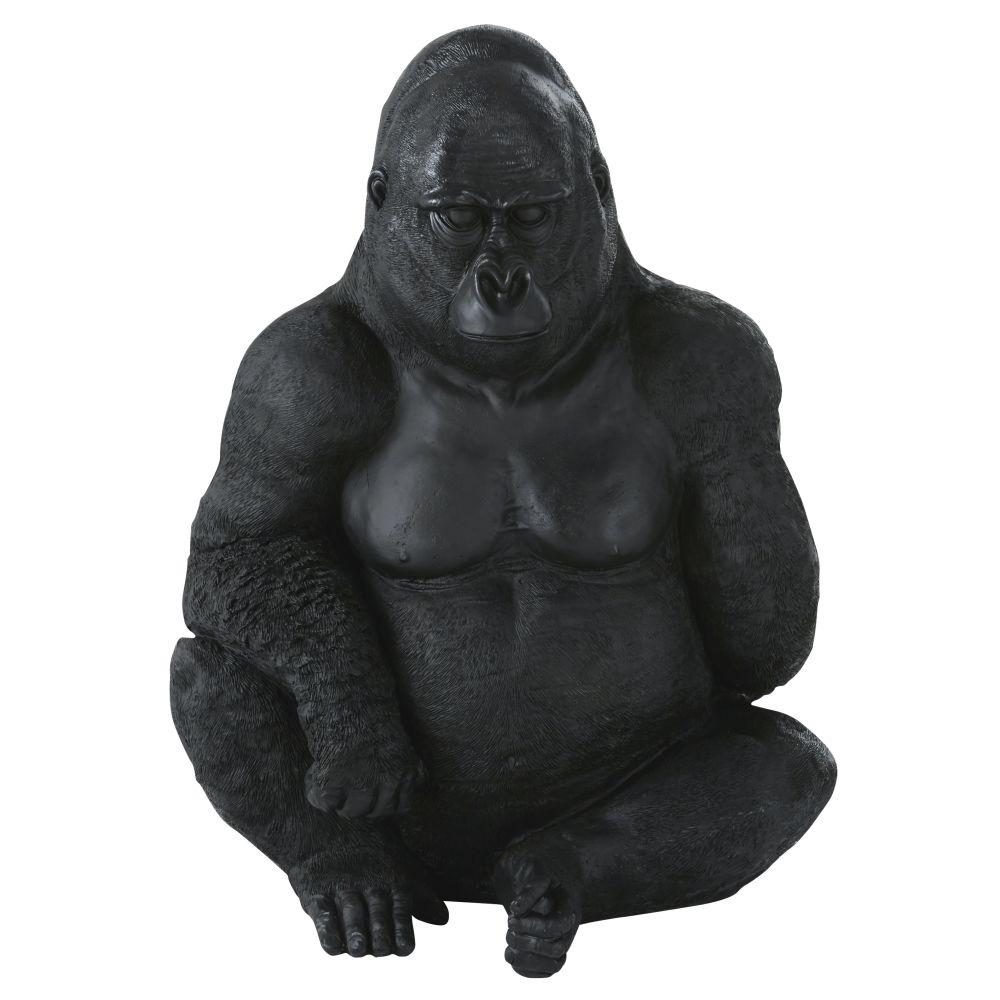 Statue de jardin gorille assis noir mat H83