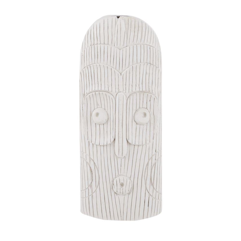 Statue de jardin masque sculpté blanc H40