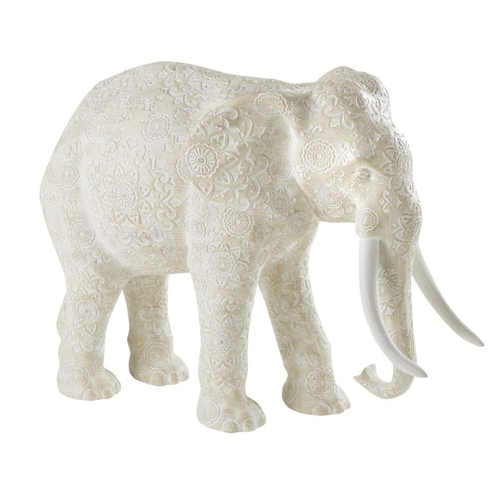 Statue éléphant beige effet vieilli motifs mandala H48