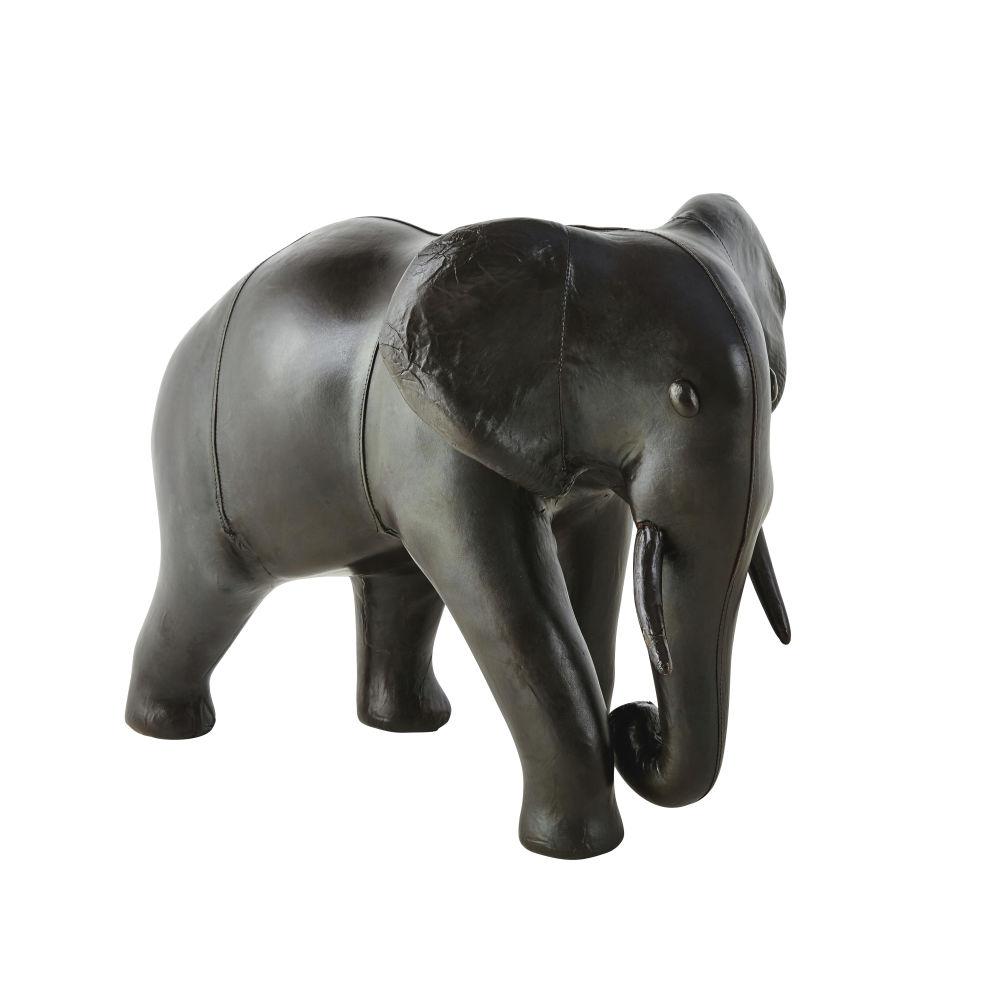 Statue éléphant en cuir de mouton marron H48