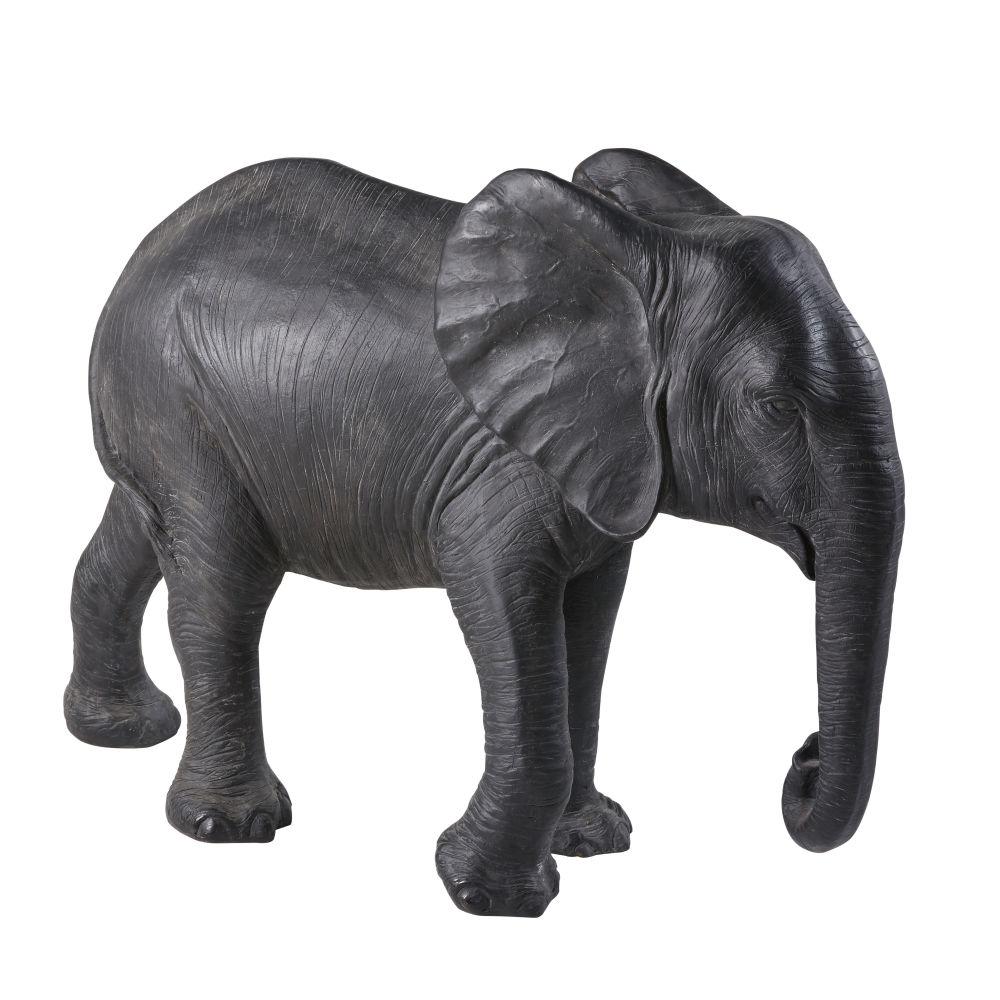 Statue éléphant noire mate H72