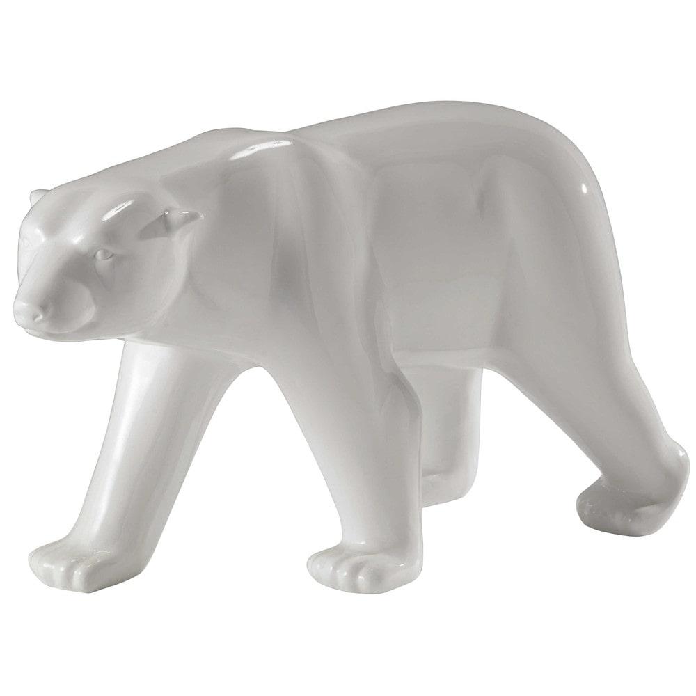 Statue ours en résine blanche L 103 cm