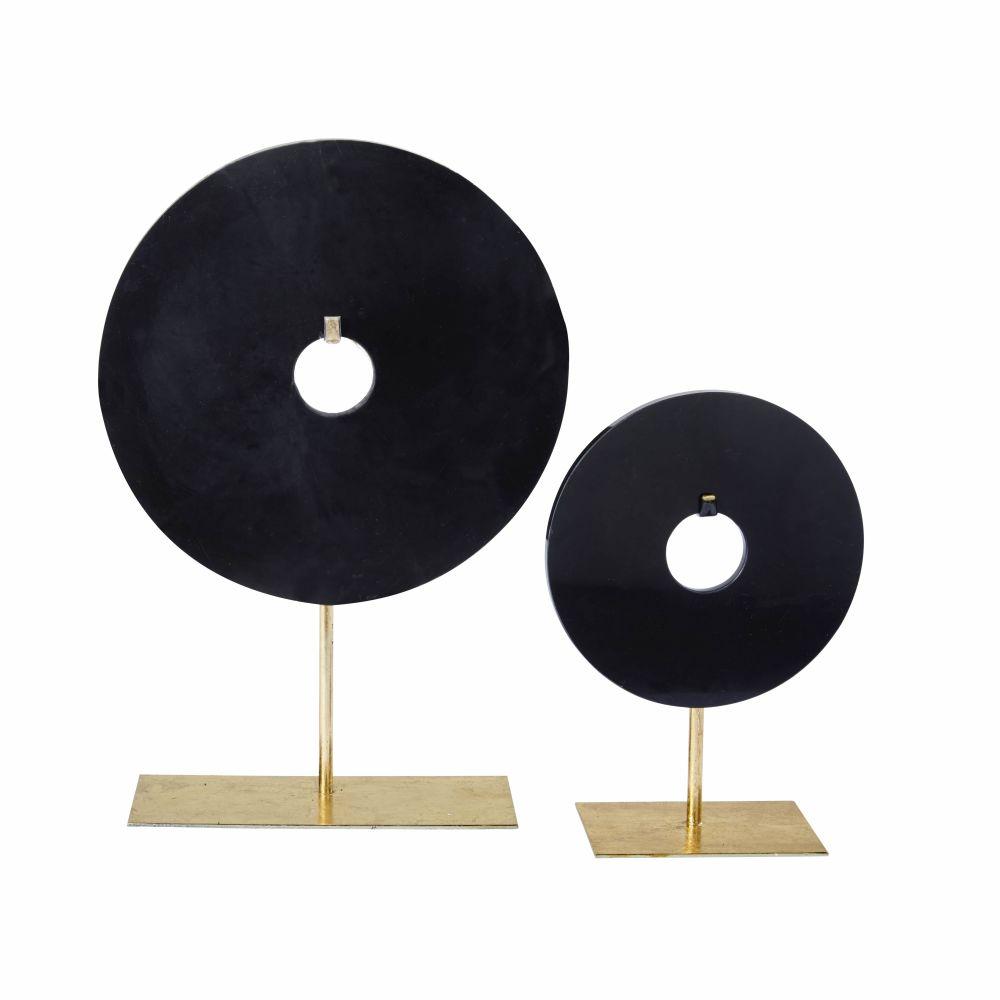 Statues cercles en marbre noir H44 (x2)