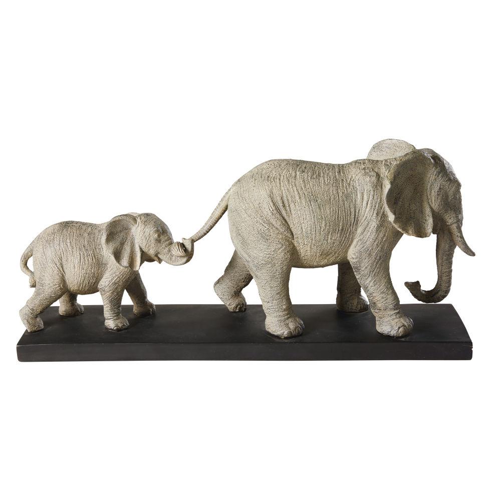 Statuette 2 éléphants grise et socle en métal noir H21
