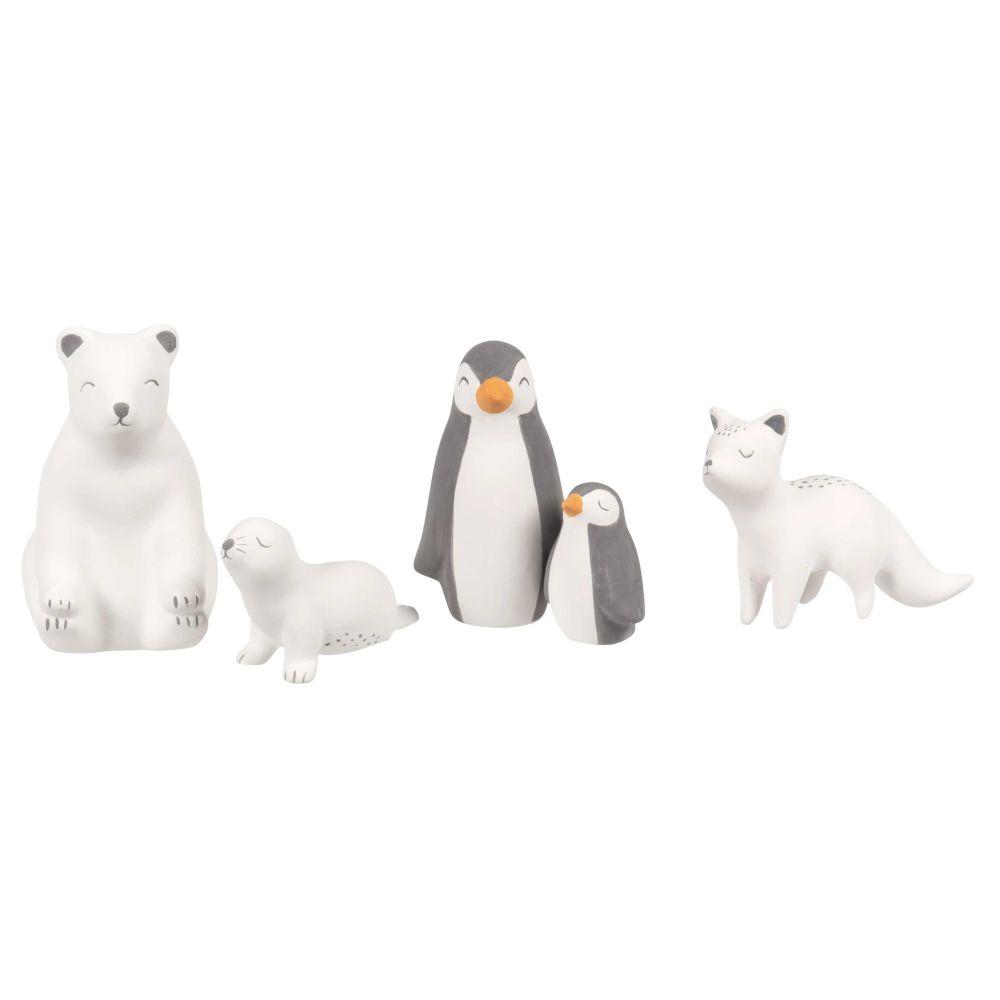 Statuette animali polari in ceramica bianca e grigio antracite (x5)