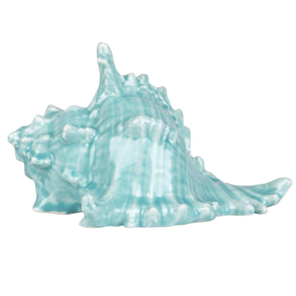 Statuette coquillage en porcelaine bleu glacier H8