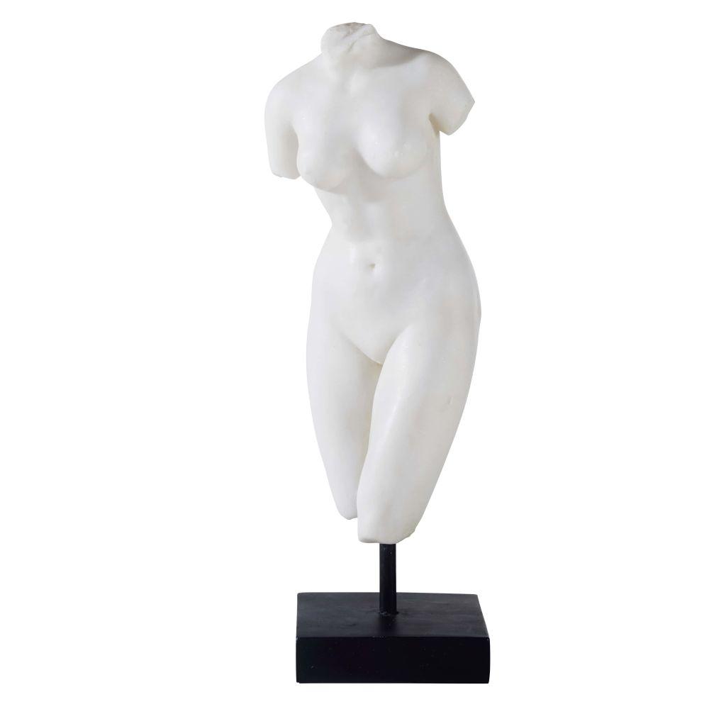 Statuette déesse Vénus blanche et socle noir H38