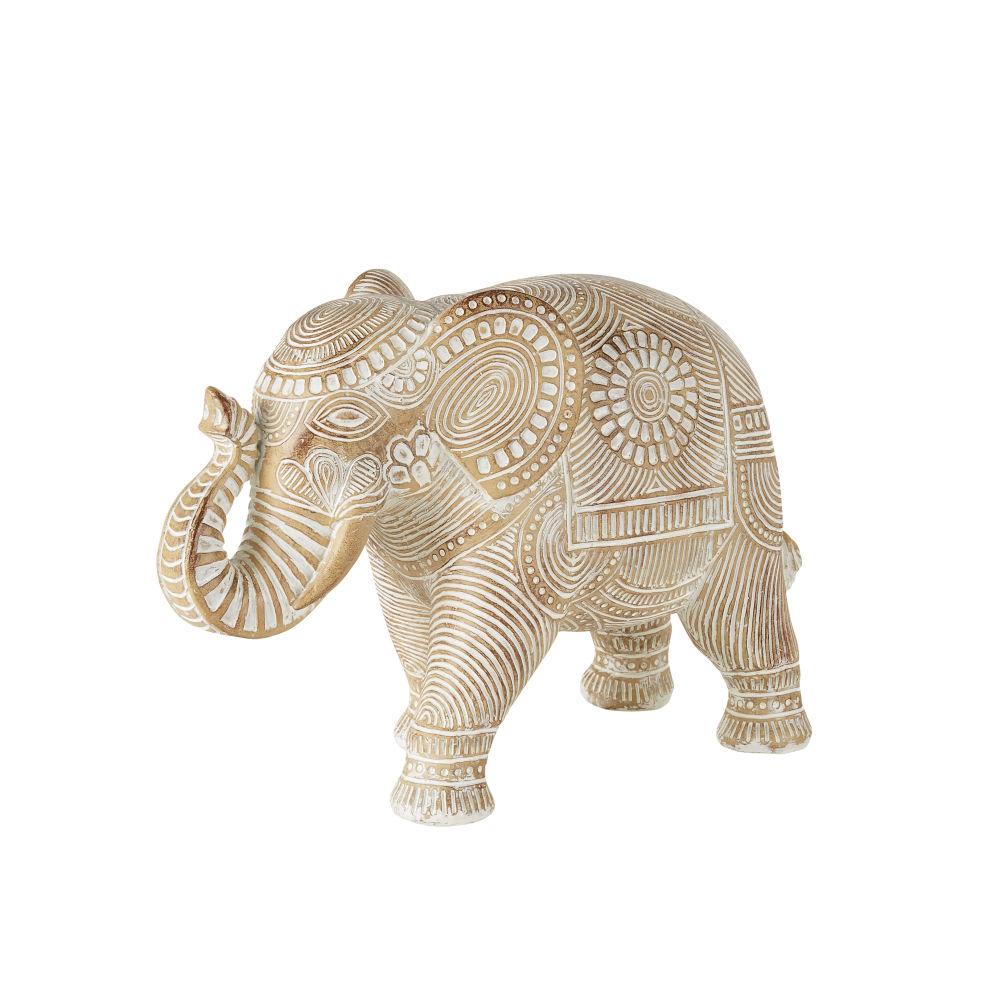 Statuette éléphant sculptée mandala marron blanchi H28