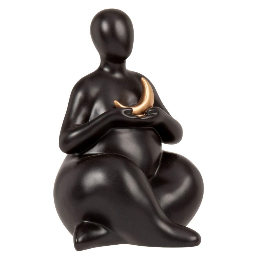 Statuette femme et lune en dolomite noire et dorée H15