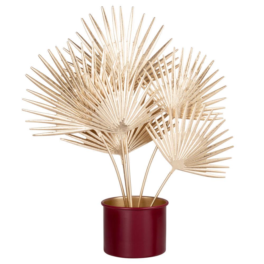 Statuette feuilles de palmier support en métal doré et bordeaux foncé H35