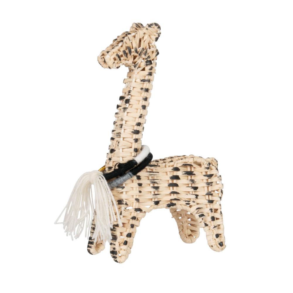 Statuette girafe en rotin et coton noirs tressés H18