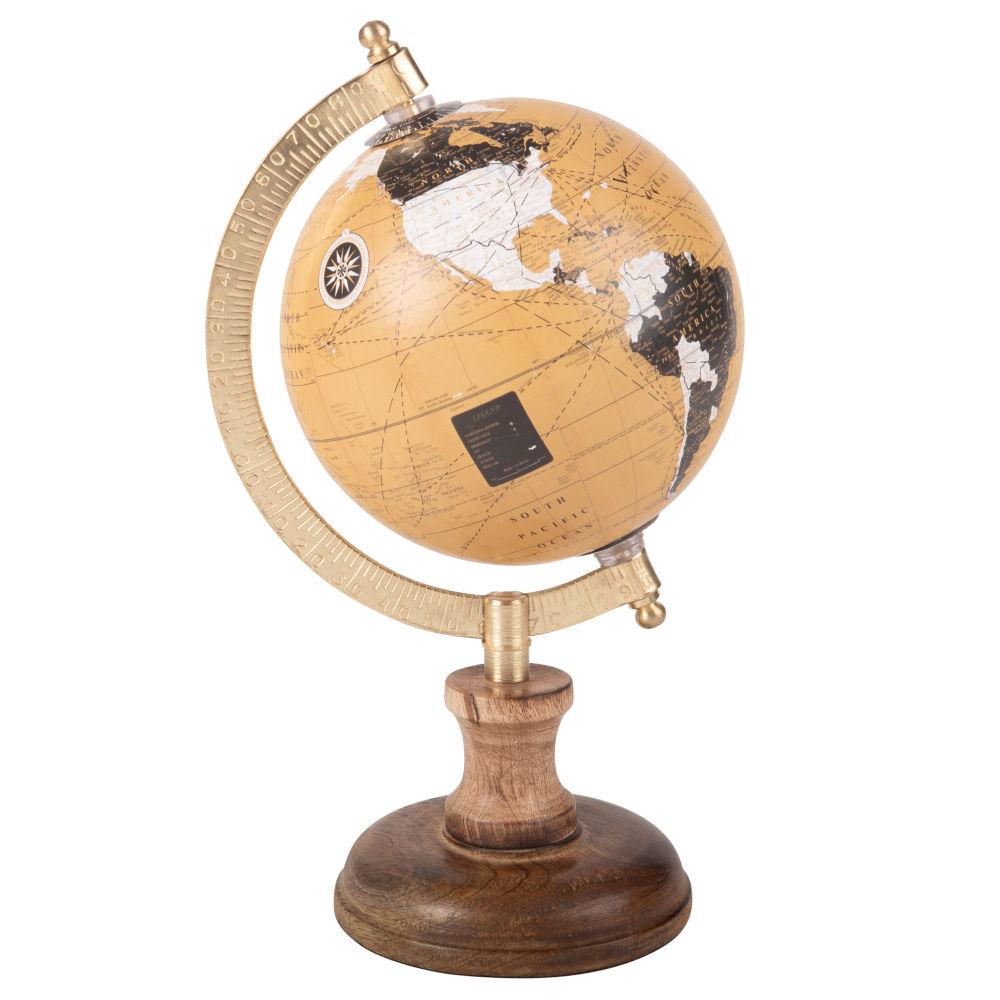Statuette globe terrestre carte du monde H23